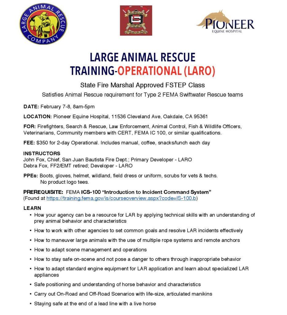 Large Animal Rescue Tactical Training Feb 7-8, 2017 – Healing Arenas